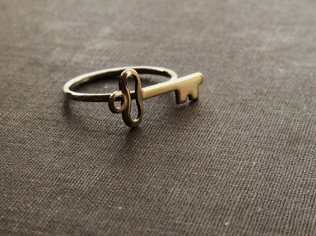 Brass Key on Sterling Silver Ring - Made to Order