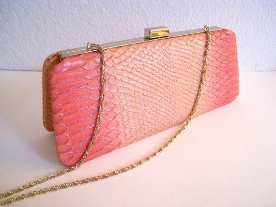 Art Deco Art Nouveau Salmon Pink Snake Skin Handbag Clutch Purse