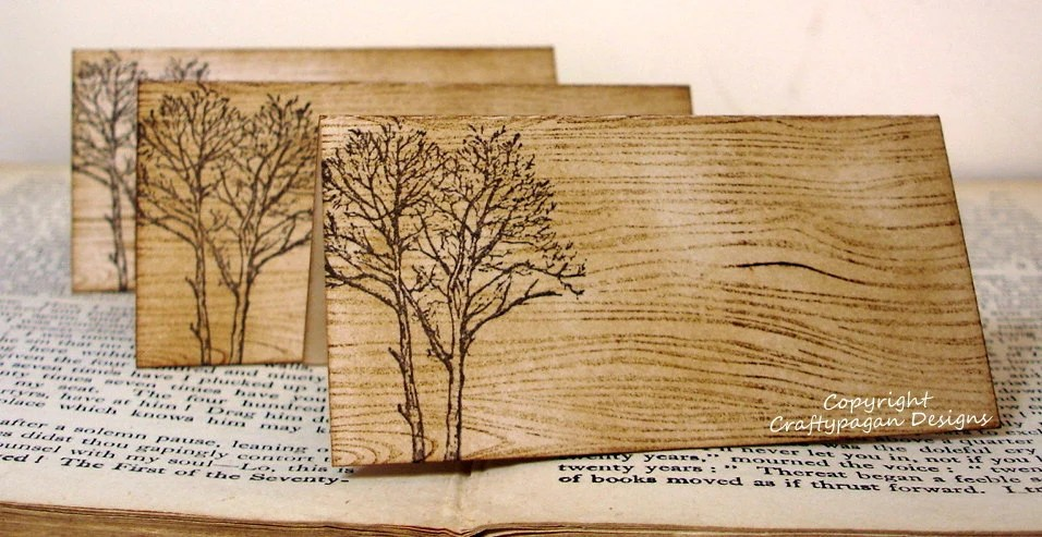 Wood Grain Place Cards Rustic Fall Trees-SET of 50-Name Printing Available by Craftypagan Designs