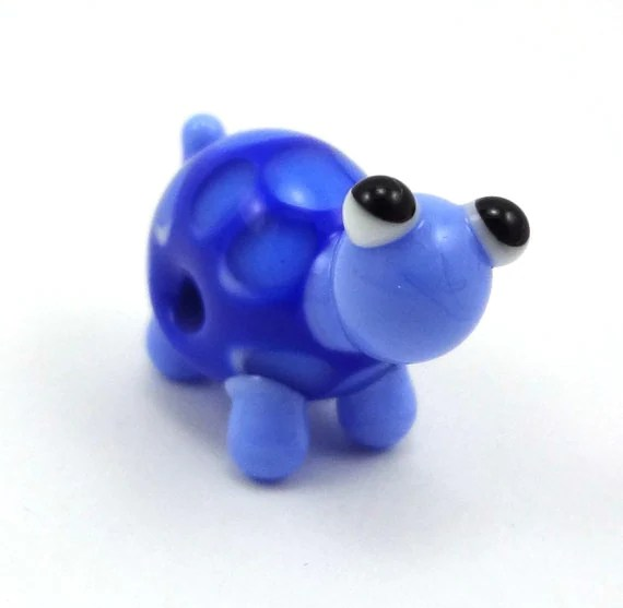 Blue Turtle Lampworked Glass Bead Figurine