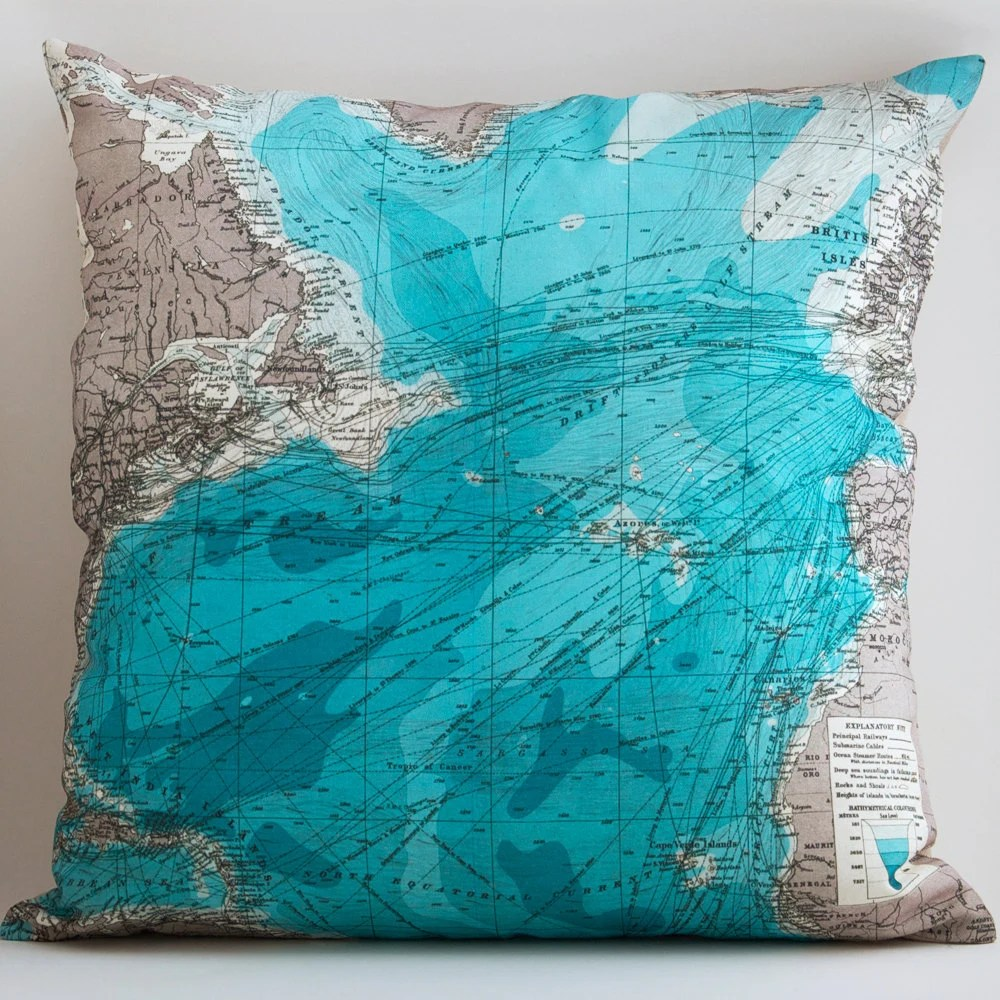 Vintage TRANSALANTIC Map Pillow, Made to Order 18 x 18 Cover, Linen Blend