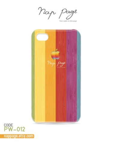 iphone 4 case , iphone 4s case , case for Iphone 4 Blackberry mobile Case handmade: colorful apple logo