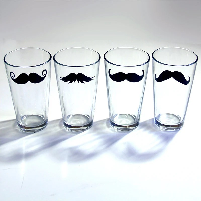 Mustache Drinking Glass - Fun Drinking Glassware Bar Ware- 4 Piece Set - MustacheGlass