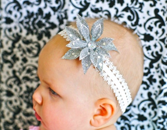 Elegant Christmas Flower and FREE lace headband....READY to SHIP....perfect for girls and baby girls...