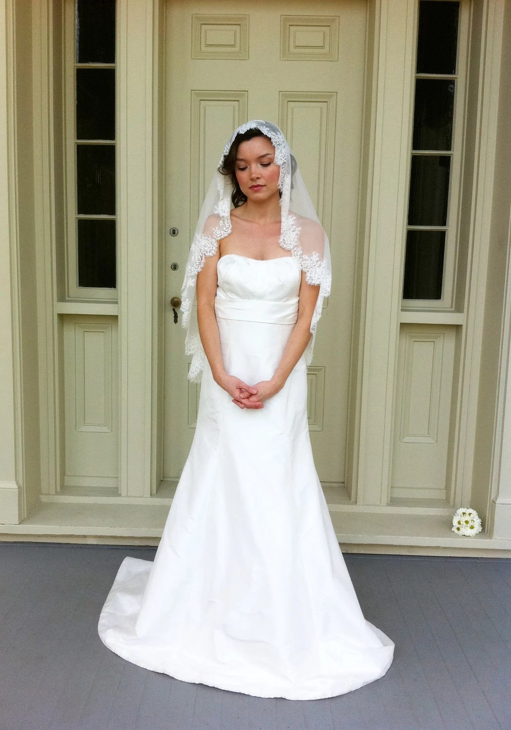 Catalina-chantilly rose lace trimmed mantilla veil