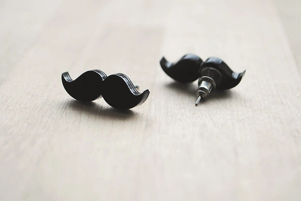 Moustache/Mustache Stud Earrings, Movember, Nickel Free