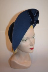 The London Blitz - Late 1930s WWII RAF Blue Felt Turned Brim Topper w/Velvet Bow & Pave Pin