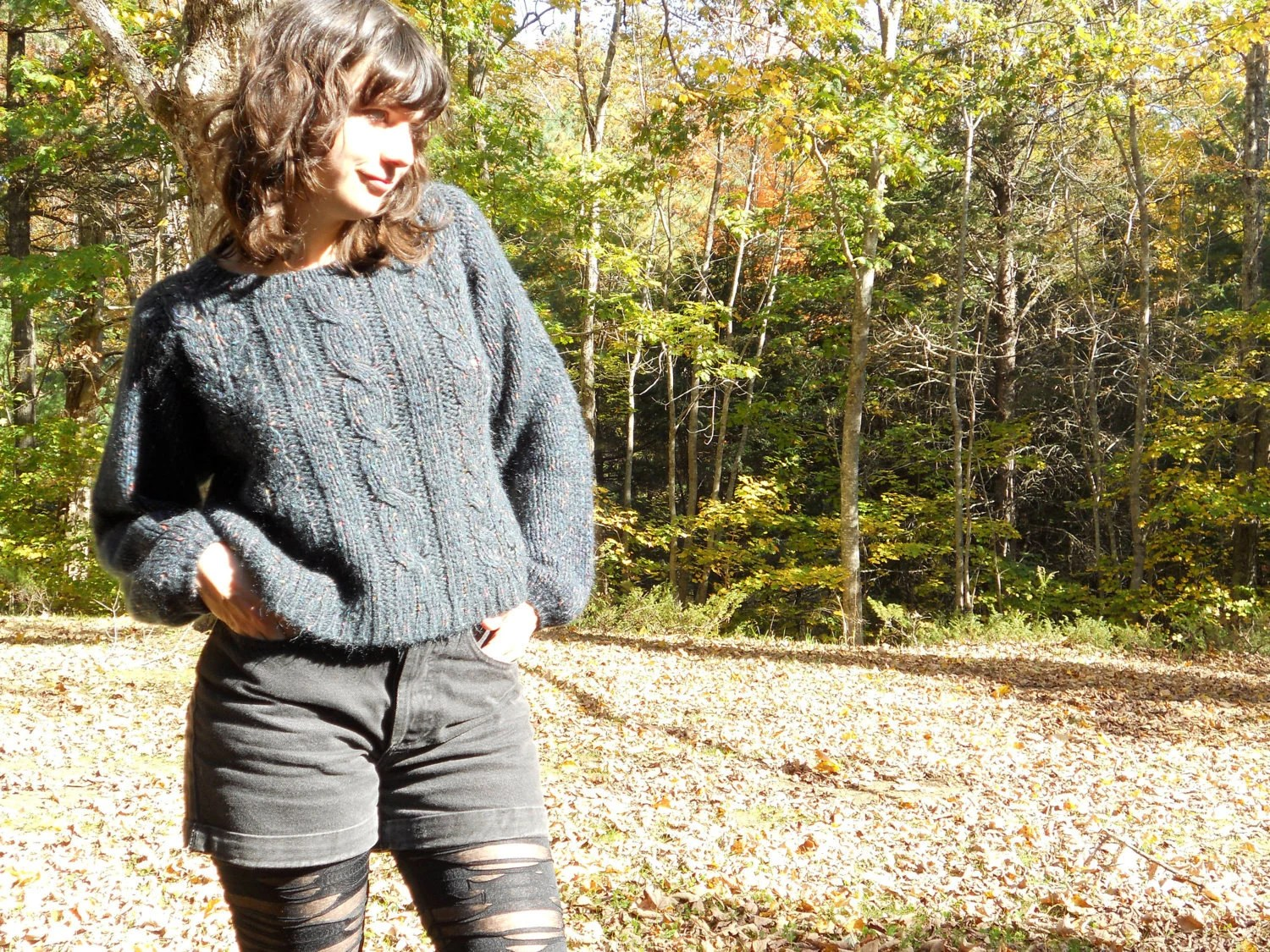 80s cropped sweater - black confetti or funfetti cable knit sweater - slouch - size S