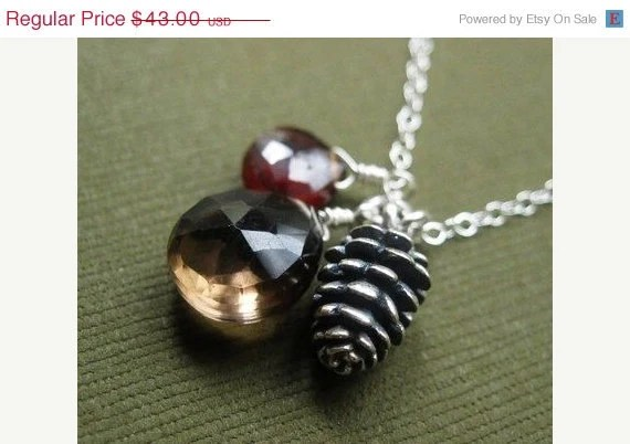 ON SALE Pinecone Necklace, Garnet, Smoky Quartz, Sterling Silver Pinecone Charm, fall fashion, fall colors
