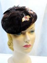 Hat 1950s 50s Beret Tilt Hat Vintage Forward Tilt  w/Autumn Leaves ...Do 1930s 30s LAYAWAY Available