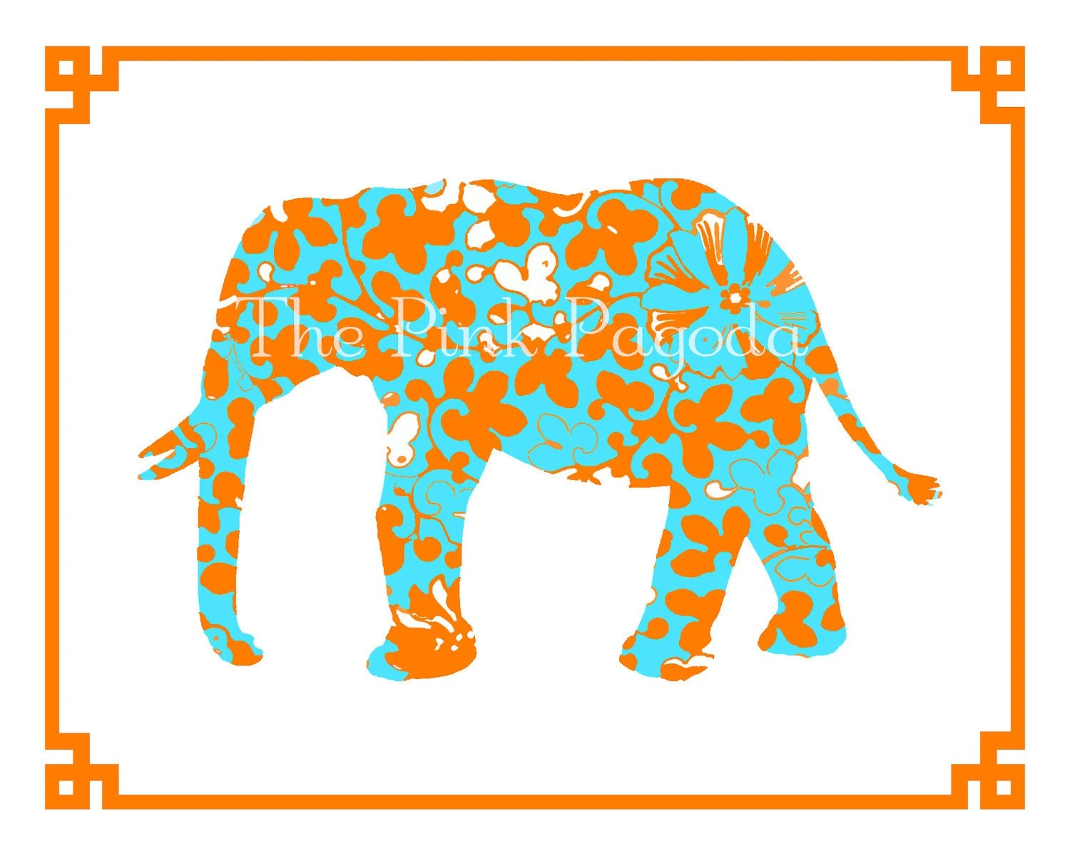Orange and Turquoise Elephant with Chinese Border Giclee 8x10