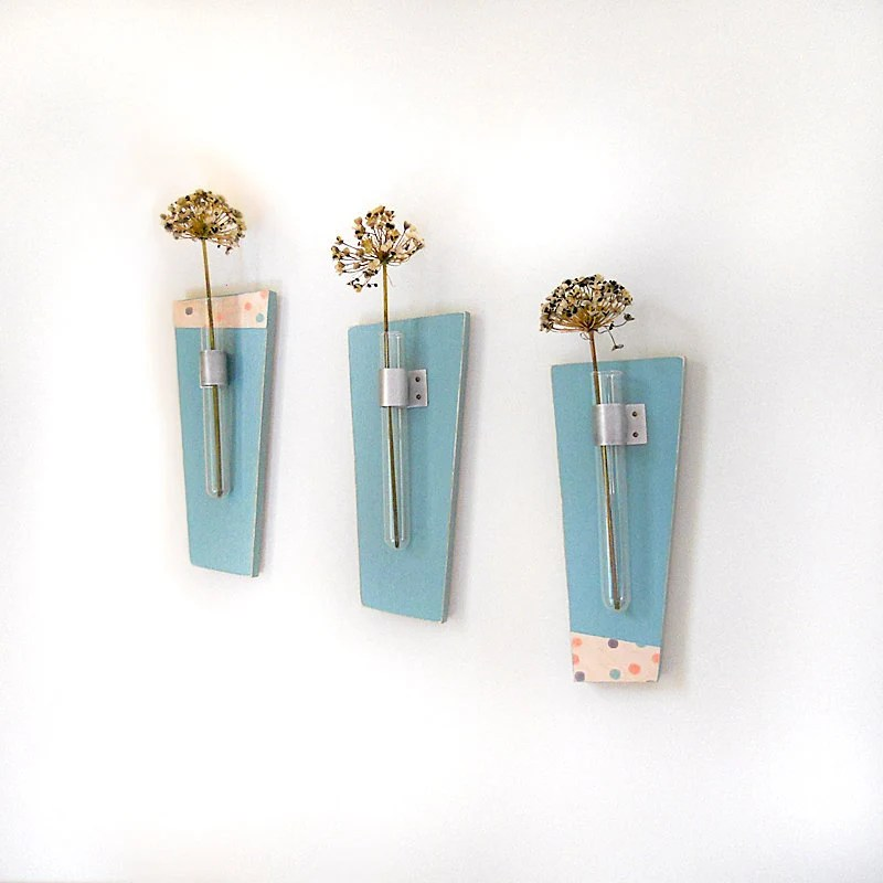Flower Vase Test Tubes SKY: modern wood wall mount retro teal blue polka dots