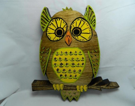 Retro Inspired Owl Wall Sculpture Hand Cut hand Painted Solid Wood