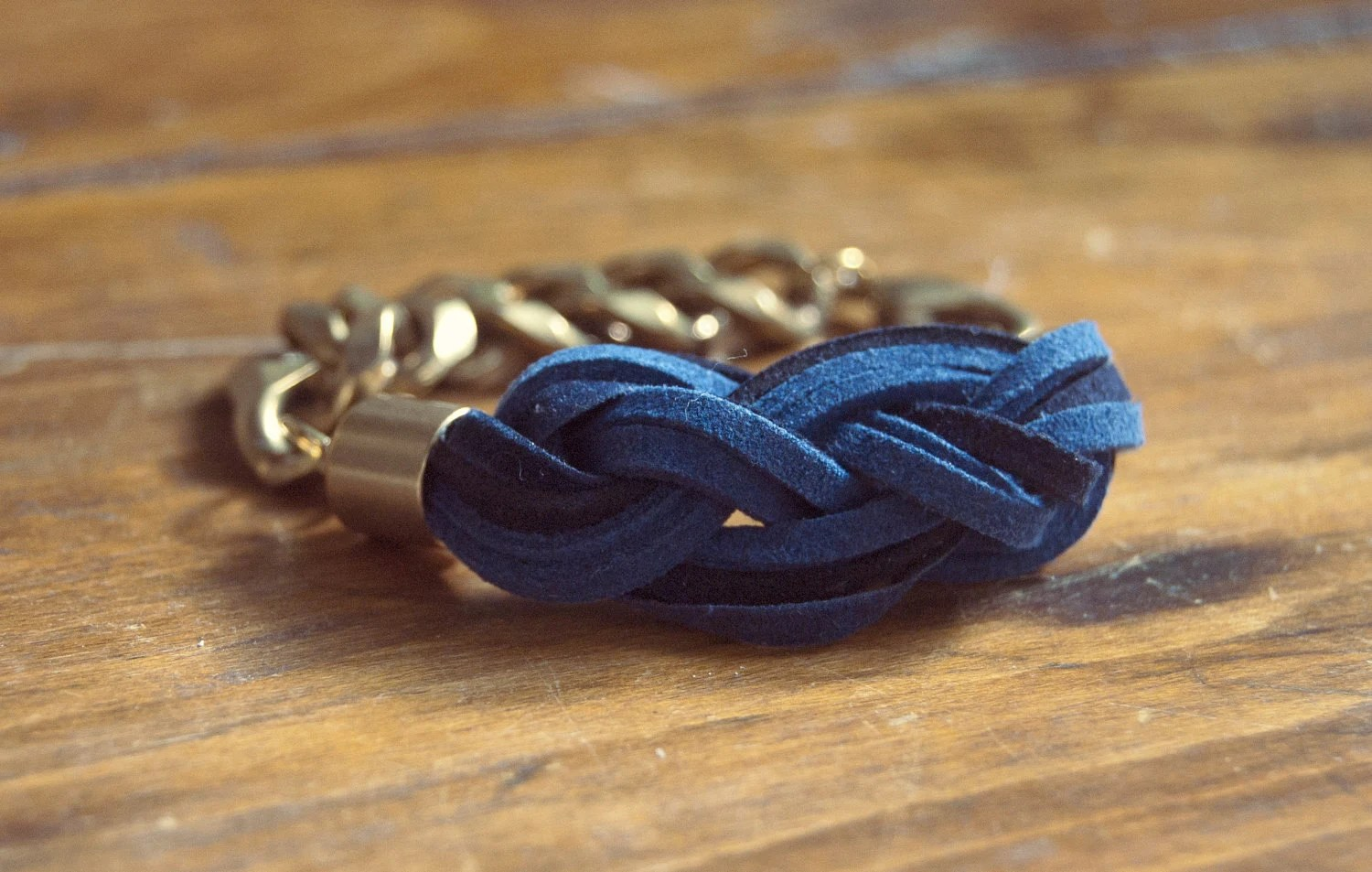 Sailor's Knot Bracelet - Navy and cobalt-colored suede and raw gold chain