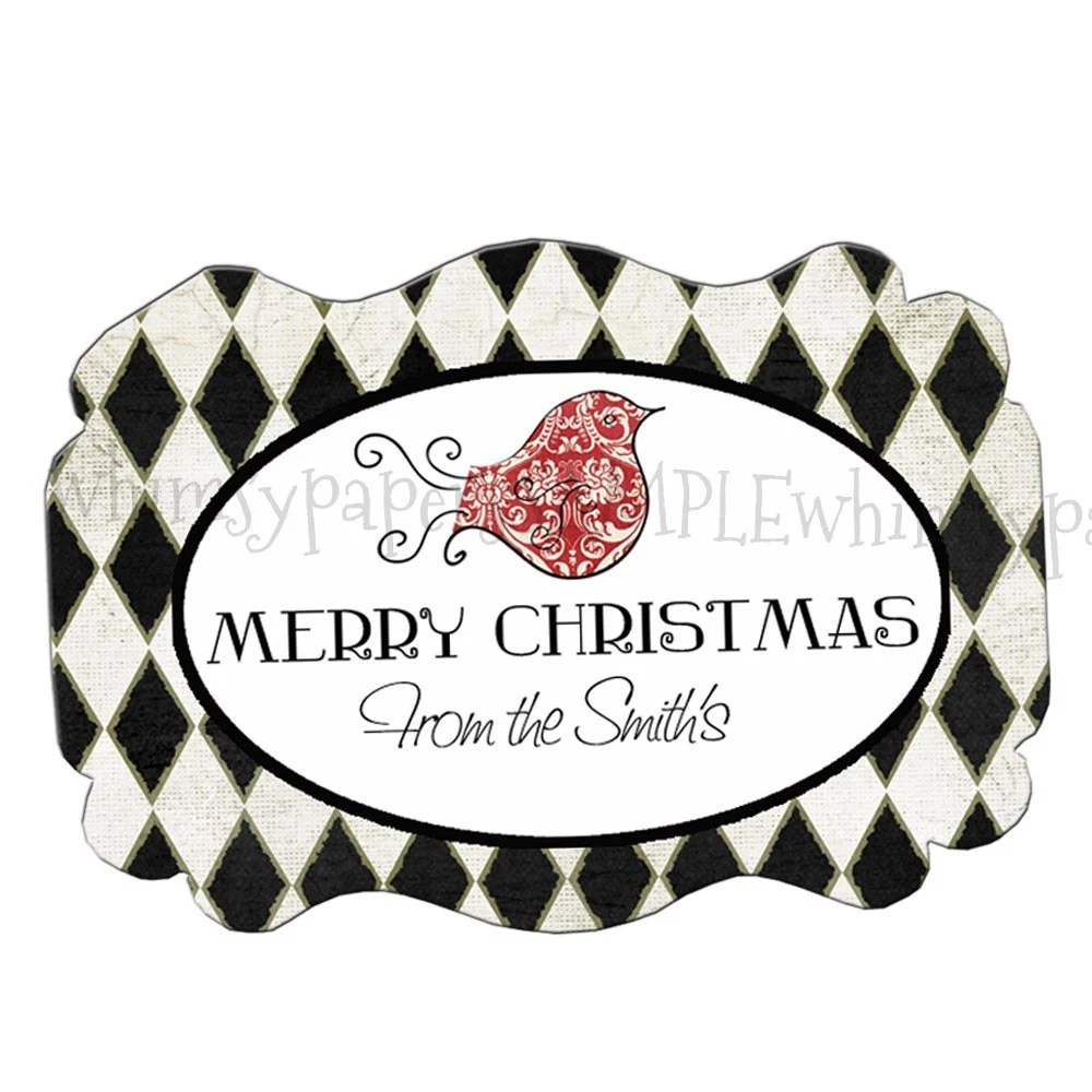 Personalized Glossy Christmas Bird Harlequin Gift / Thank You Labels