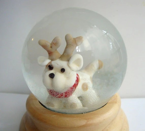 Snow Globe Dog with Antlers Lampwork Glass Sculpture by Studio Marcy