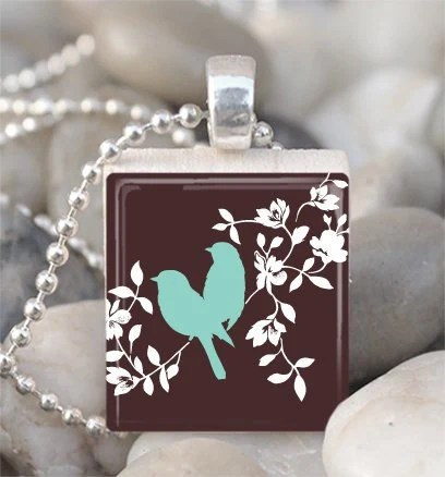 Scrabble Tile Pendant Bird Pendant Bird Necklace With Silver Ball Chain (A1529)