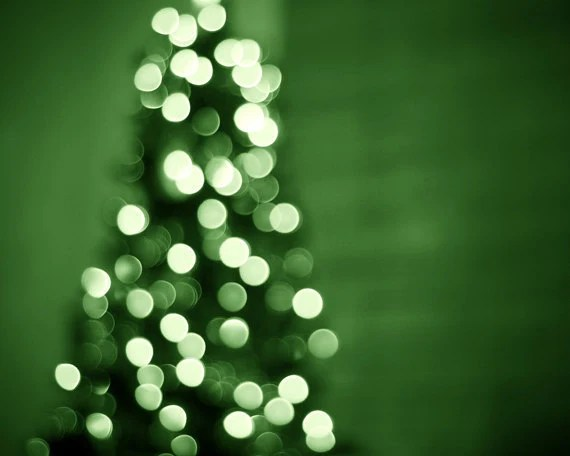 Christmas Photography - holiday decor green christmas lights fine art photography wall art christmas tree photo prints - 8x10 Photograph