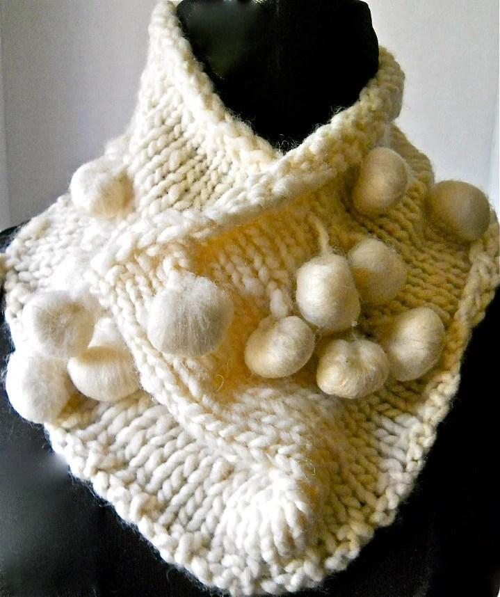 Felted Balls Cowl - White