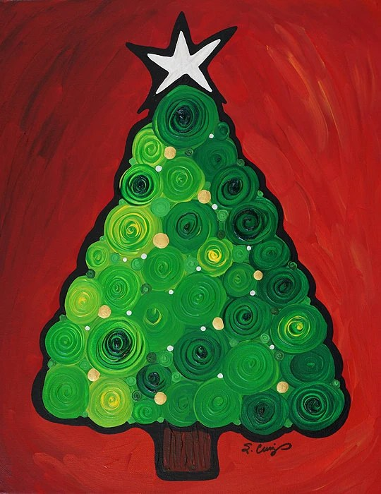 Christmas Tree Twinkle Green Red Silver Gold Abstract Painting Art Gifts Holiday Idea Gift Canvas Ready To Hang