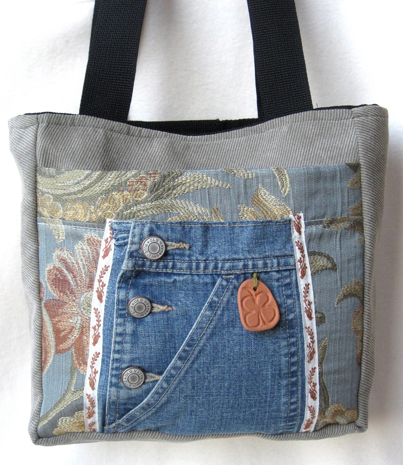 SALE Tote Bag Blue Floral Denim Mocha Organizer Terra Cotta Shamrock Embellishment