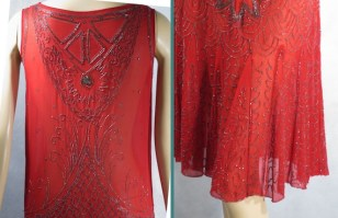 SALE Vintage 1920s Flapper Dress Red Silk Chiffon Beaded B38