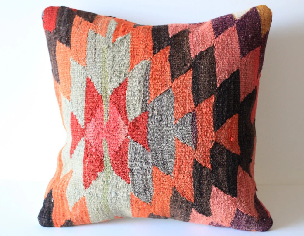 Organic Shine Society Modern Bohemian Throw Pillow. Handwoven Wool Striped Vintage Tribal Turkish Kilim Pillow Cover. Red, Pink, Gray. 16x16