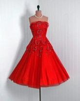1950's Vintage Red Metallic-Swirls Beaded Rhinestone Tulle-Couture Low-Cut Plunge Ruffle Strapless Full Circle-Skirt Rockabilly Party Dress