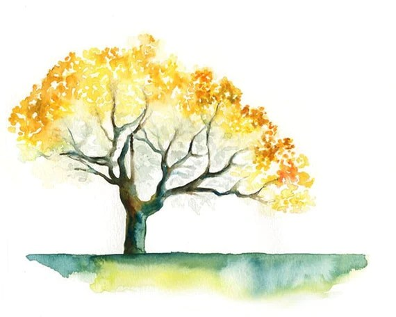 Yellow tree Print from my original watercolor painting 10x8 inch