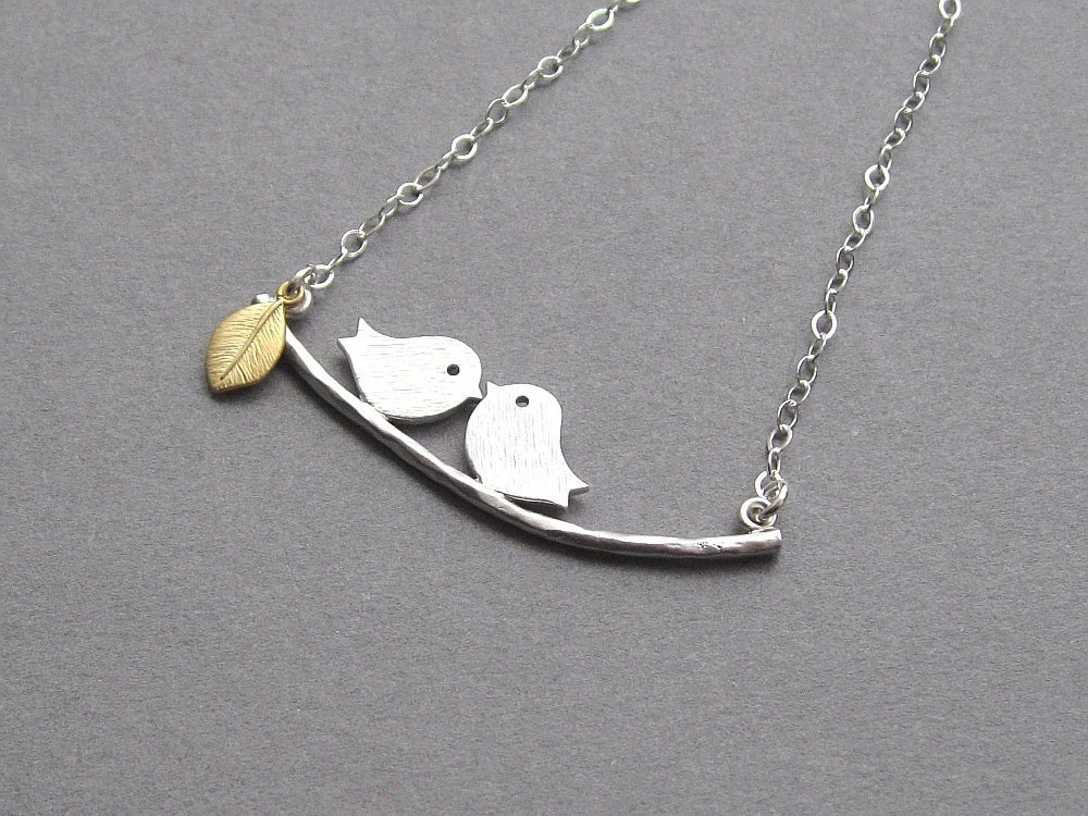 Bird branch necklace, rhodium plated love birds, 14K gold plated leaf, sterling silver chain