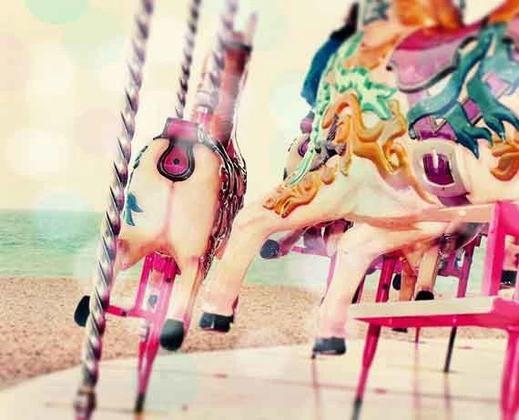 Art Photography, Merry Go Round, Carnival, Sea Ocean Beach, Nursery - LafayettePlace