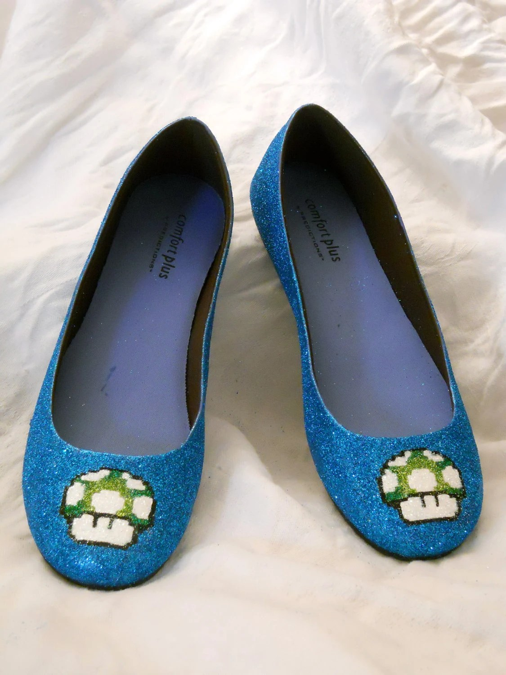 1 Up Mario Mushroom Glitter Shoes