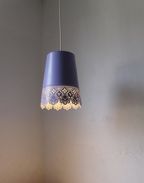 Lilac Light - UpCycled Mesh Lace Metal Garden Planter Hanging Pendant Lighting Fixture - BootsNGus Lamp Design