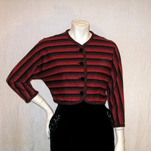 50s vintage red black striped bolero jacket short
