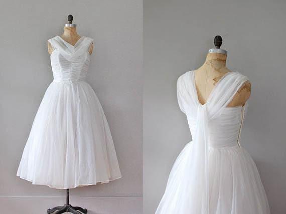 vintage 1950s dress / 50s chiffon / Spun Gossamer