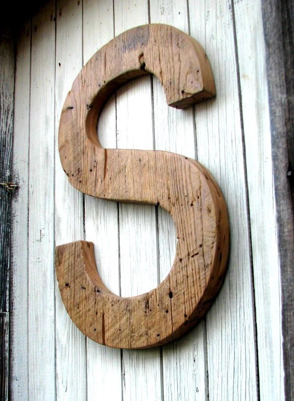 "BIG Decorative Rustic Barn Wood Letter 20""  Custom Made from Salvaged Wood"