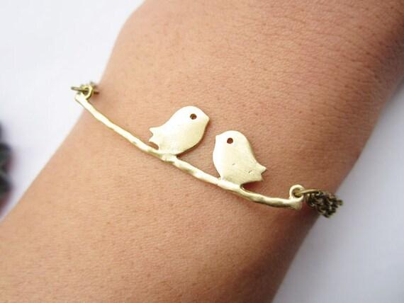 lover bracelet---golden love birds on the branch pendant love bracelet  & antique bronze chain