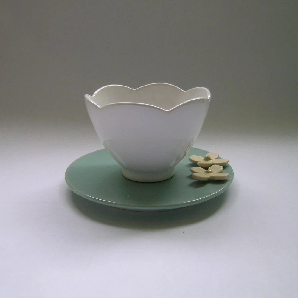 Ceramic Teacup and Dogwood Blossom Plate/Saucer by WhitneySmith