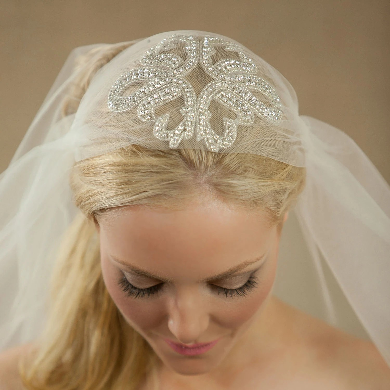 NEW Starfish Sparkling Bridal Cap Veil 30 Inch