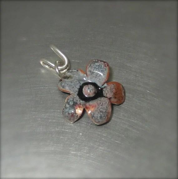 Enameled Black and Orange Flower Pendant - By Beth Millner