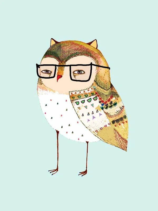 A Little Owl wearing glasses. limited edition art print by Ashley Percival. Children decor, Nursery Decor, Art Print.
