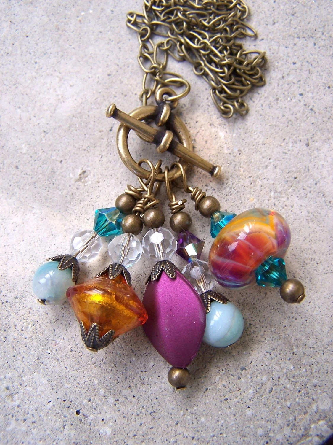 Wire Wrapped Brass Dangle Necklace