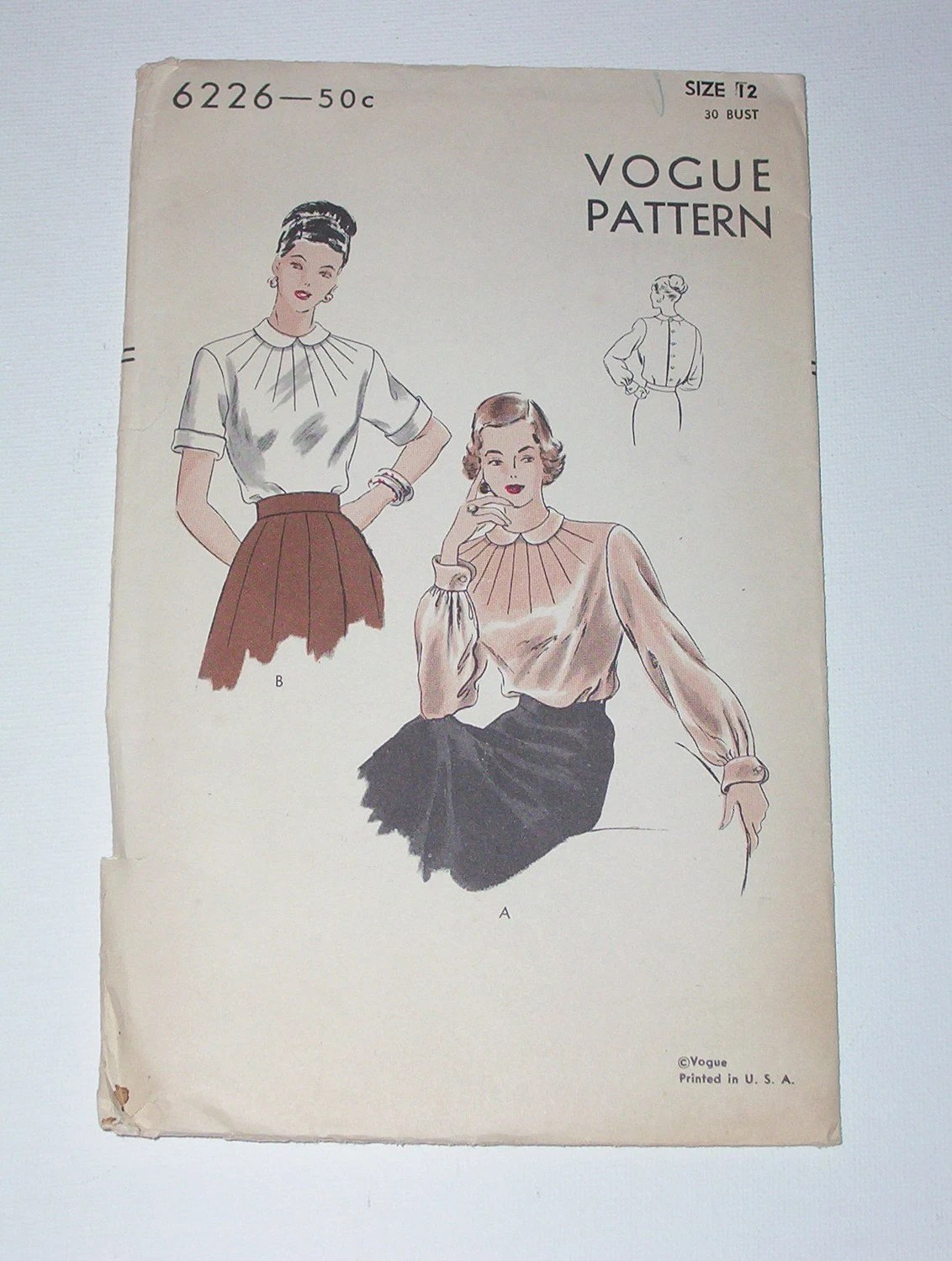 Vintage 40s Blouse Pattern Vogue 6226 Size 12 Bust 30
