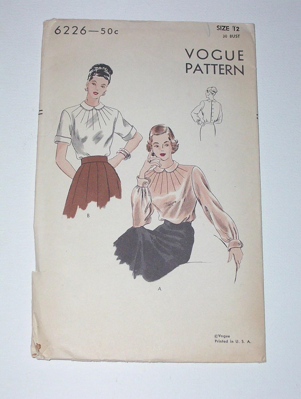 Vintage 40s Blouse Pattern Vogue 6226 Size 12 Bust 30