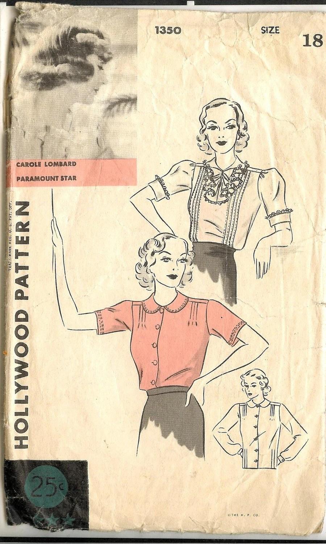Carole Lombard 1930s blouse pattern