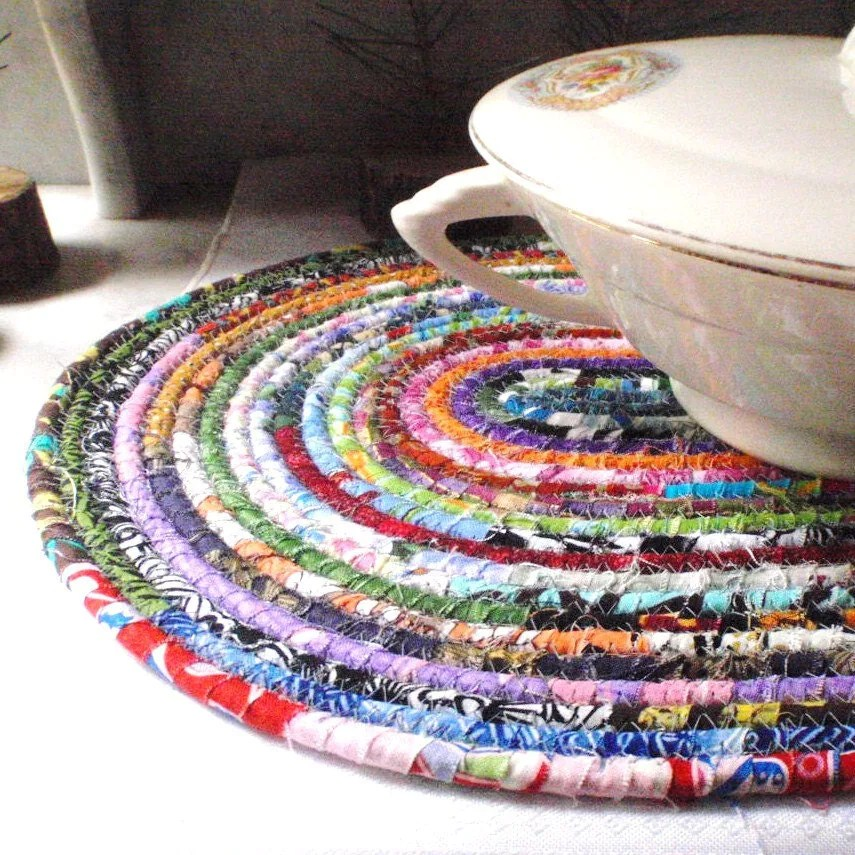 Bohemian Coiled Multi-colored Mat