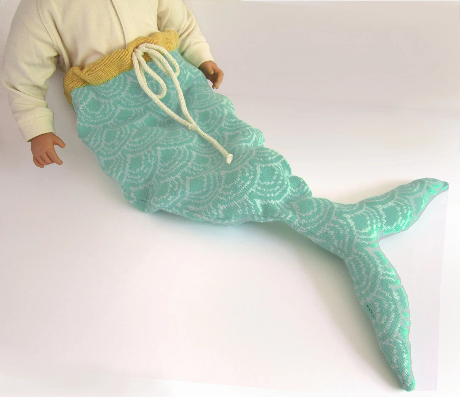 Handmade Knitted Mermaid Tail Baby Costume - The Miniature Knit Shop