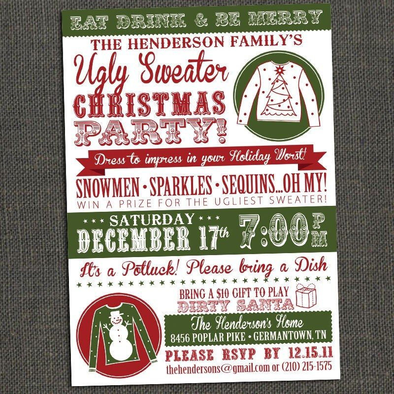 click here to purchase or view more detials httpwwwetsycomlisting85121307ugly sweater christmas party invitation