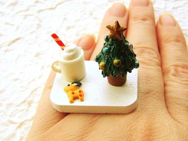 Christmas Ring Kawaii Food Cookies Hot Chocolate Miniature Food Jewelry