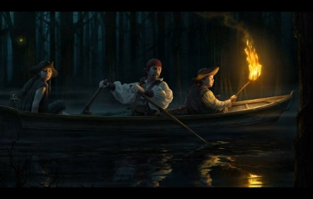 Image result for fantasy picture of boat on water